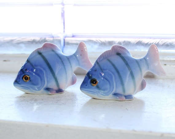 Vintage Salt and Pepper Shakers Blue Fish
