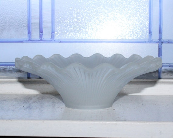 Fluted Satin Glass Reflector Shade for Oil Lamp Vintage 1930s
