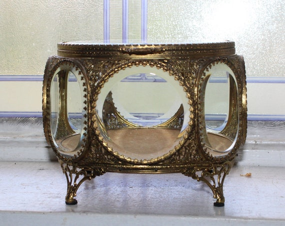 Large 8 Sided Jewelry Casket Beveled Glass Filigree Ormolu Antique