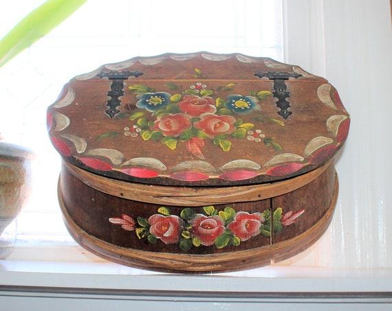 Large Vintage Staved & Bent Wood Box Folk Art Hand Painted Roses