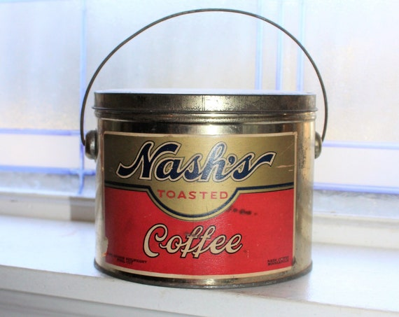 2 Pound Nash Coffee tin Vintage Kitchen Decor with Wire Bail Handle