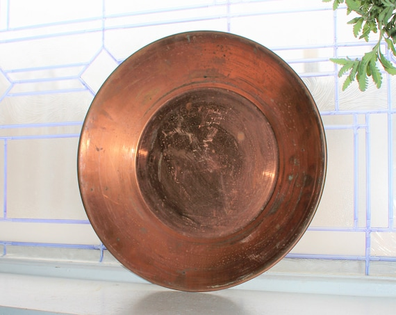 "Vintage Hudson Bay Ltd Copper Gold Mining Pan Herters Waseca MN 14"""