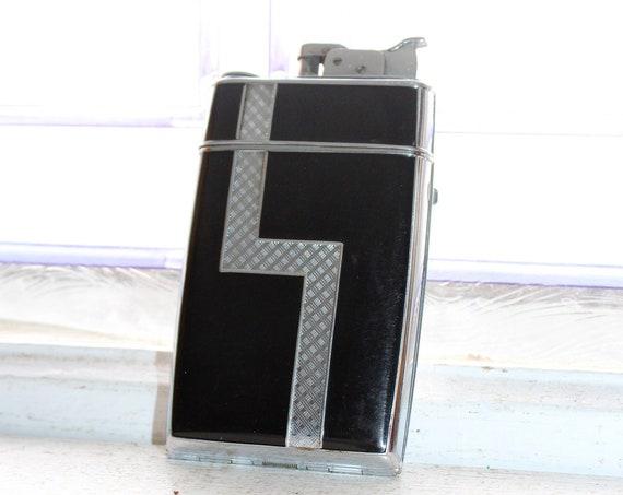 1920s Art Deco Evans Lighter Cigarette Case Chrome & Black Enamel