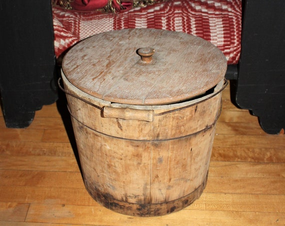 Large Antique Wooden Pail Bucket Wood Firkin Bail Handle and Lid