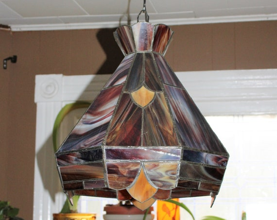 Vintage Stained Glass Hanging Light Fixture