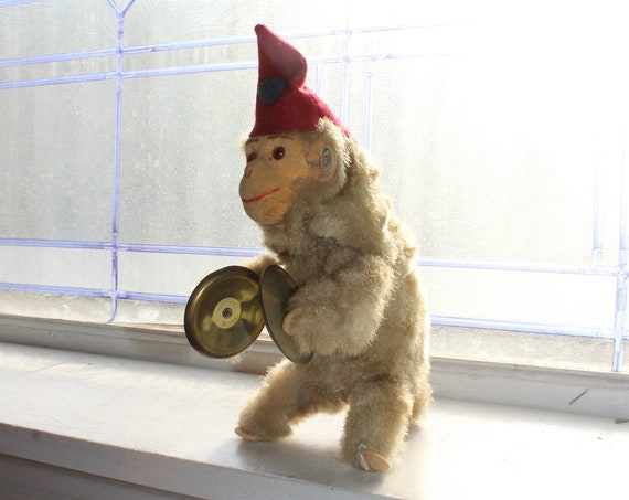 1960s Monkey Playing Cymbals Vintage Wind Up Toy