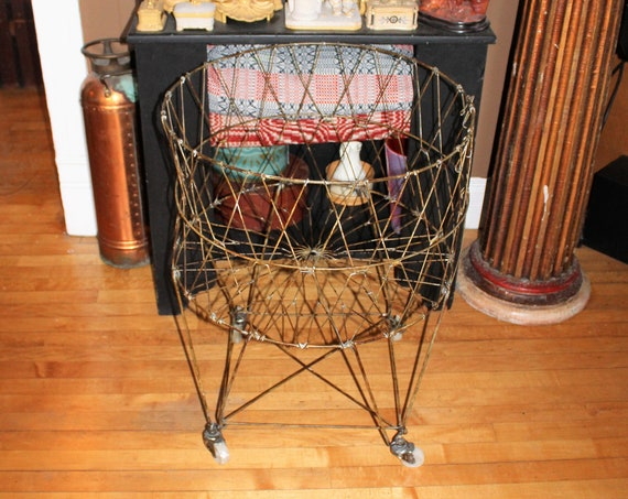 """Large Vintage Wire Laundry or Storage Basket 30"""" On Wheels Collapsible"""