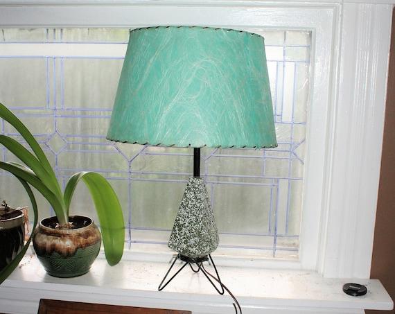 Mid Century Modern Hairpin Leg Tripod Lamp Turquoise Green