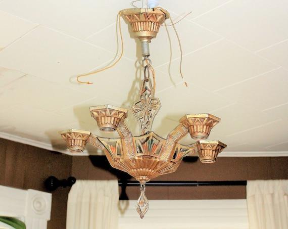 Art Deco Chandelier Ceiling Light Fixture Vintage 1920s 5 Light