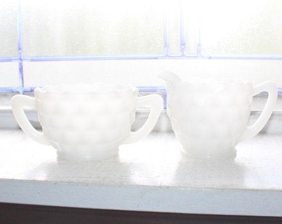 Vintage Milk Glass Creamer and Sugar Cube Cubist