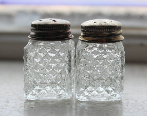 Vintage Salt and Pepper Shakers Quilted Diamond Glass