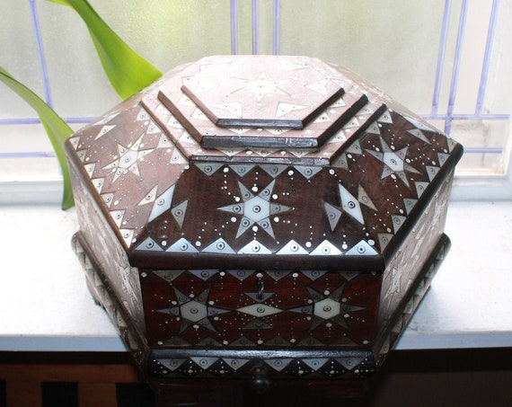 Large Antique Mahogany Chest with Mother of Pearl Marquetry & Key
