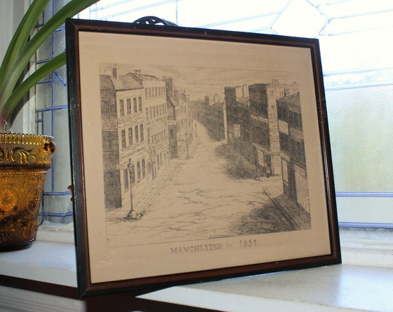 Antique 19th Cent Etching George Cruikshank Manchester In 1851 Framed