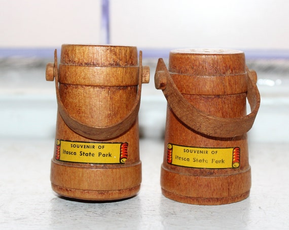 Vintage Salt and Pepper Shakers 1950s Wood Firkins Itaska State Park