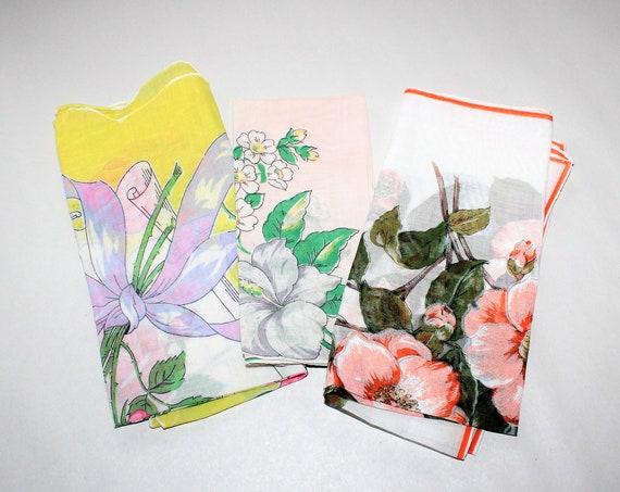 3 Vintage Ladies Silk Handkerchiefs Mid Century Pastels