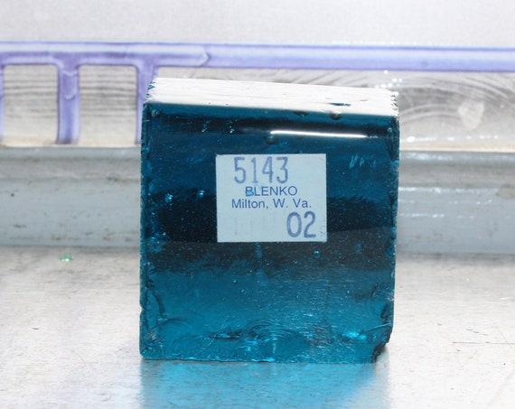 Vintage Blenko Glass Color Sample Block Paperweight Art Supply 5143 O2