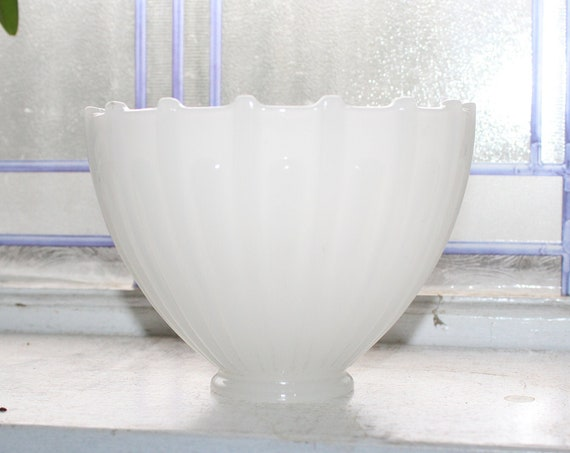 Art Deco Light Shade Opaque Glass Ribbed Torchiere Vintage 1920s