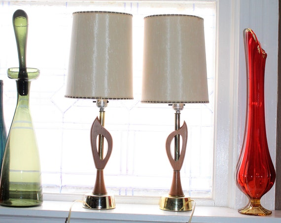 Vintage Mid Century Teak Wood Bedside Lamps Pair 1950s