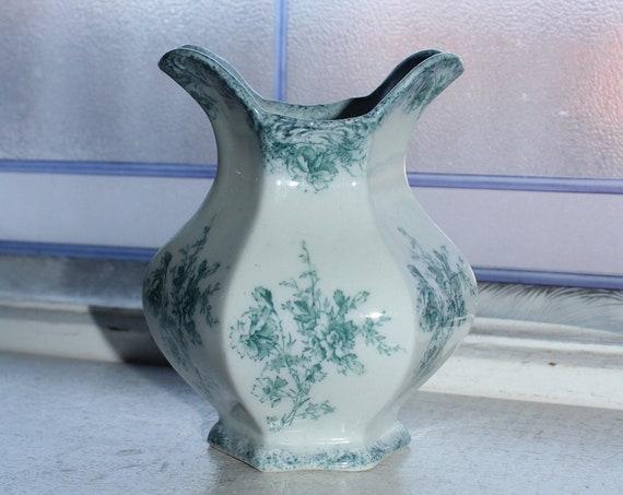 Antique Flow Blue Vase Doreen by Grindley 19 Century Ironstone