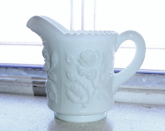 Vintage Imperial Milk Glass Pitcher Roses Decoration