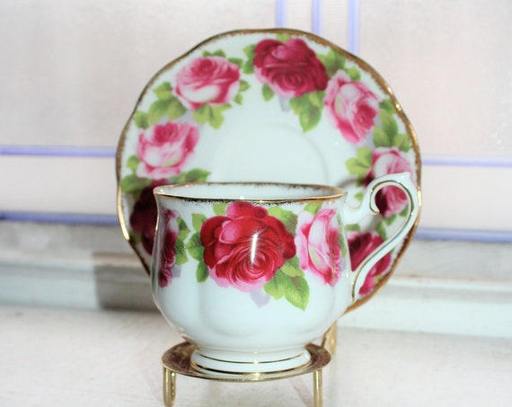 Royal Albert Old English Rose Teacup and Saucer Fine Bone China