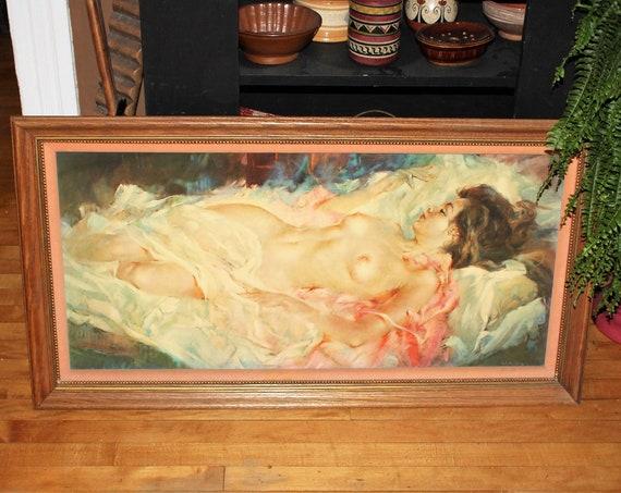 Vintage Julian Ritter American Venus Framed Print Nude Woman 1960s