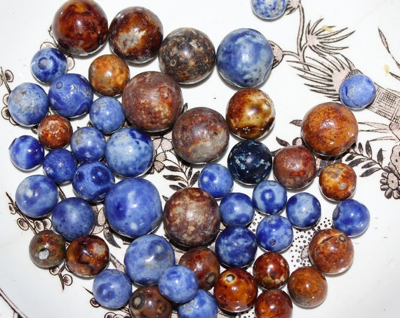 49 Antique Bennington Pottery Marbles Brown and Blue Circa Late 1800s