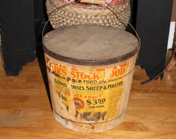 Large Wooden Firkin Bail Handles Wood Pail Bucket Wilbur's Stock Feed