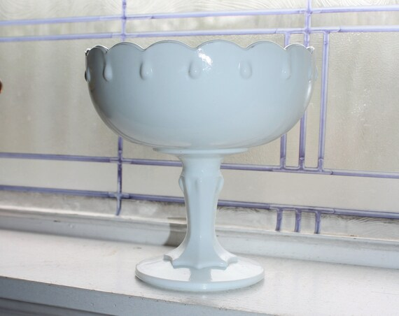 Milk Glass Rain Drop Compote Vintage 1960s Tear Drop Pedestal Dish