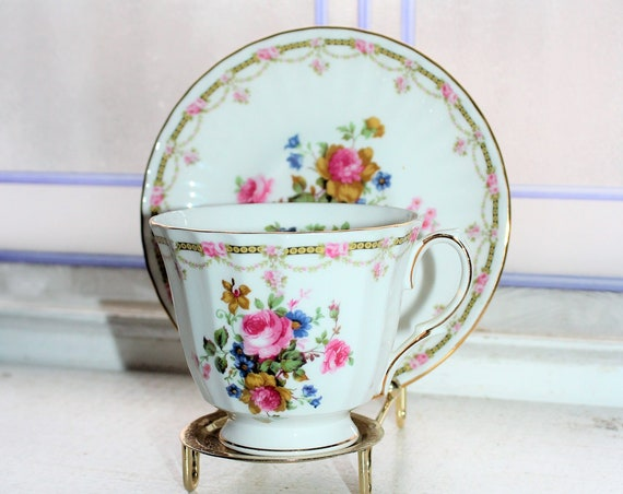 Duchess Teacup and Saucer Pink Roses Vintage Bone China