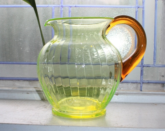 Large Watermelon Vaseline Glass Pitcher with Applied Brown Handle