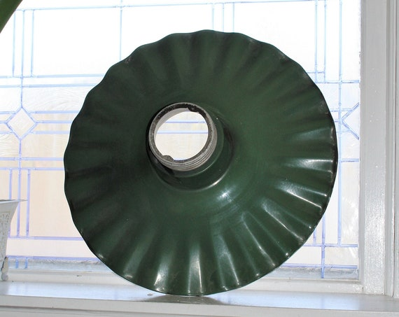 Large Green Porcelain Light Shade Crouse Hinds Radial Wave Industrial