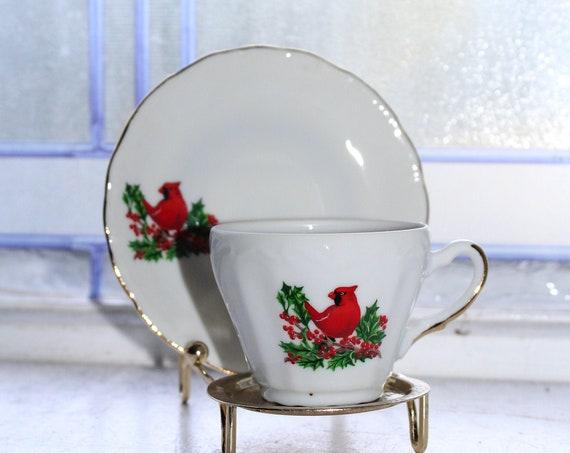 Vintage Royal Ann Demitasse Cup & Saucer Christmas Red Cardinal Bird