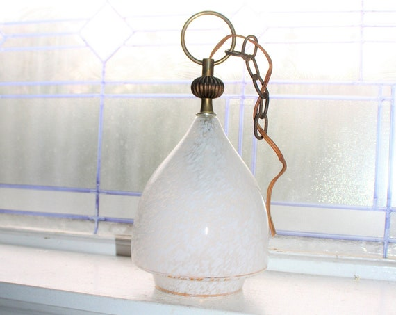 Mid Century Hanging Pendant Light with Speckled Glass Shade