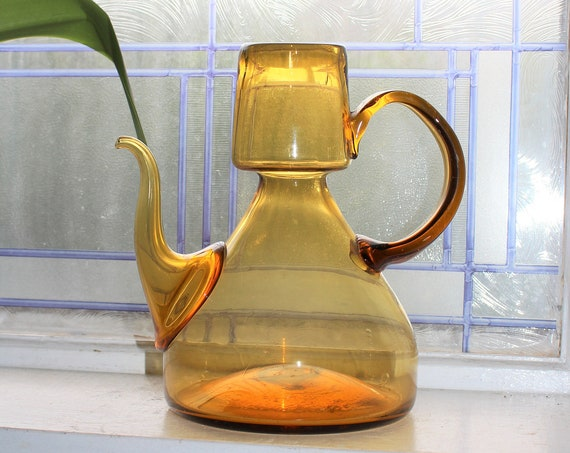 Rare Vintage Blenko Style Amber Glass Hand Blown Pitcher