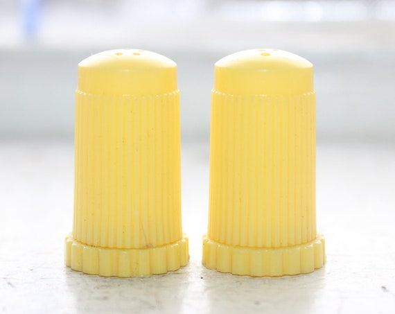 Retro Plastic Salt and Pepper Shakers Yellow Vintage 50s