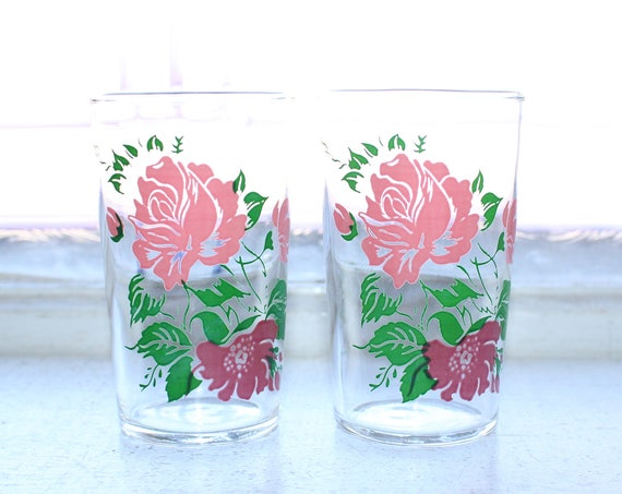 2 Swanky Swig Tumblers Roses Pink and Red Vintage 1960s