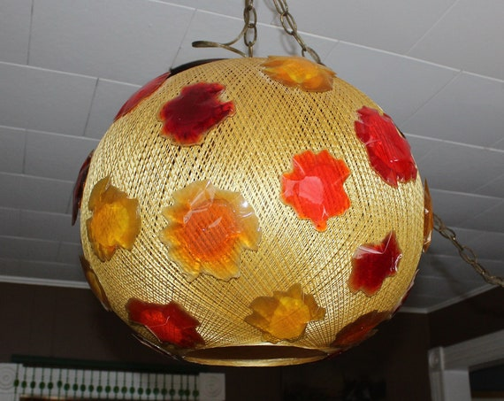 Vintage Mid Modern Swag Lamp Gold Globe with Lucite Flowers 1960s