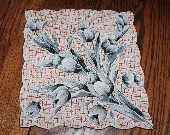 Vintage Handkerchief Hanky 1950s Floral Design