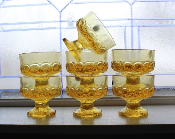 7 Vintage Tiffin Franciscan Madeira Sherbets Yellow Cornsilk Glass 70s