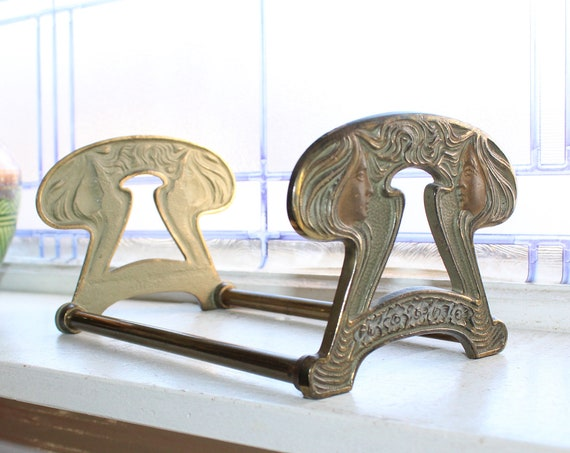 Art Nouveau Adjustable Bookends Book Rack Antique 1910s