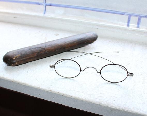 Antique Eyeglasses with Case Civil War Era 1800s Santa Spectacles