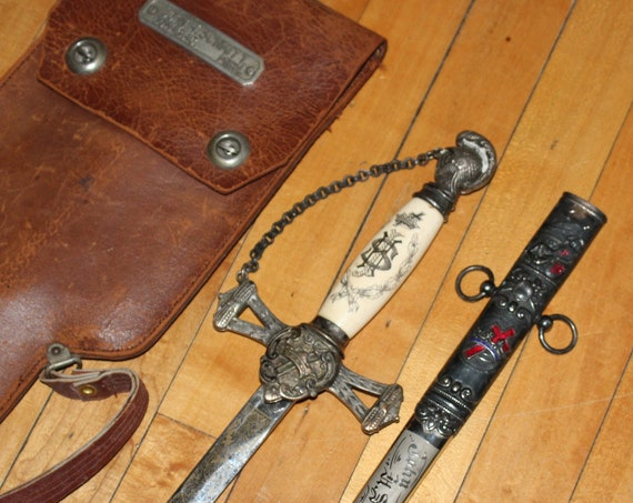 Antique Sword Masonic Knights Templar with Leather Case