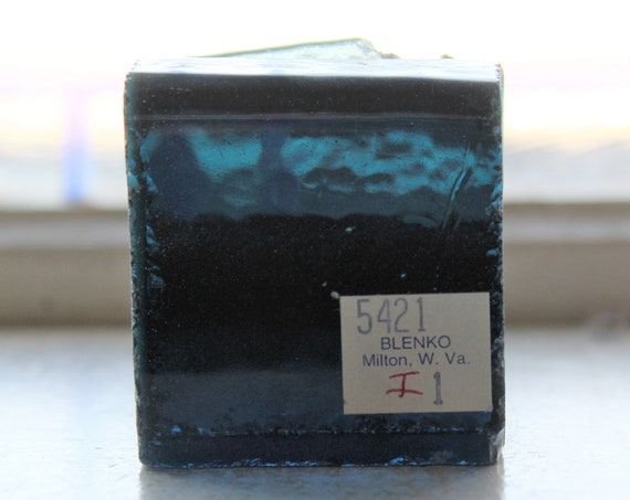 Vintage Blenko Glass Color Sample Block Paperweight Art Supply 5421 I1