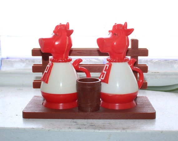 Vintage Cows Salt and Pepper Shakers with Toothpick Holder & Stand