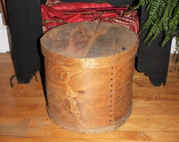 Antique Cheese Box Large Wooden Round w/ Lid