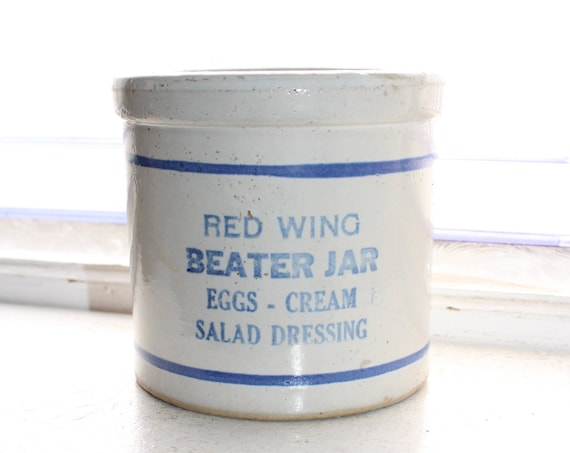 Antique Red Wing Stoneware Beater Jar Blue and White/Gray