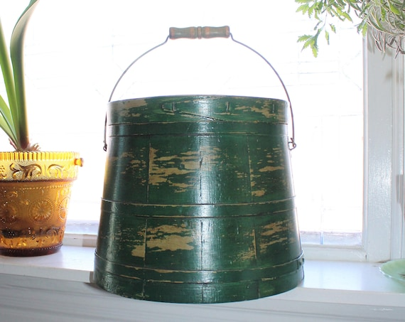 Antique Wood Firkin Green Paint Wooden Bucket with Lid and Bale Handle