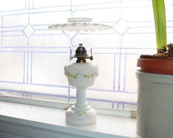 Antique 1800s Victorian Oil Lamp 1800s Milk Glass Dithridge & Co.