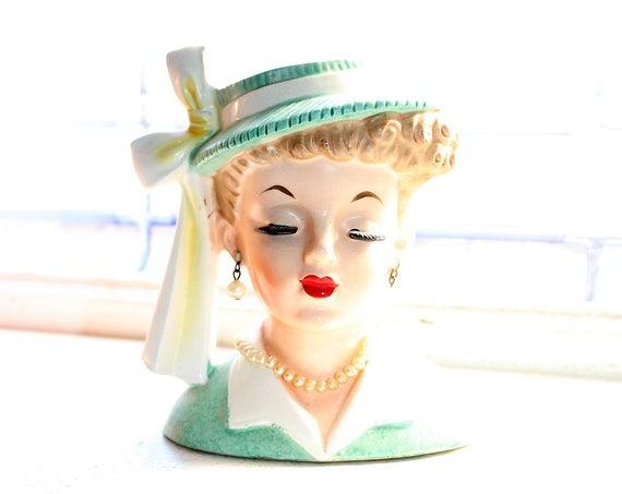 Vintage Napco Lady Head Vase with Earrings and Necklace 1958 C3342A